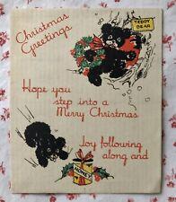 Vintage 1930s Christmas Greeting Card Teddy Bears Honey Cheer Leader Stocking