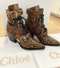CHLOE RYLEE TAN SNAKESKIN CH30520 ANKLE BOOTS WOMENS SHOES SIZE 7 (40)