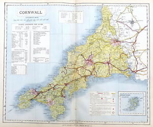CORNWALL, 1884 - Original Antique County Map -  LETTS
