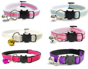 Cat Collars with Bell - Plain Design   Pet Collars   Safe, Quick Release Buckle