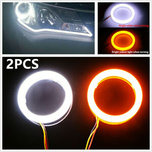 2pcs COB LED Angel Eyes Halo Ring Fog Lamp Light w/Turn Signal White Amber 70mm