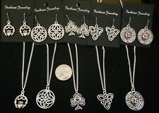 10 Piece Silver Tone Celtic Jewelry lot necklaces earrings 4
