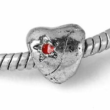 5x Tibetan Silver Cute Heart Red Star Spacer European Charm Beads Fit Bracelet