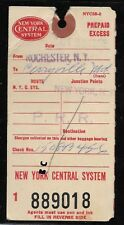 New York Central - Rail Road Baggage Tag - Rochester NY - PrePaid Excess