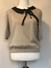 NWOT Philosophy di ALBERTA FERRETTI Beige Wool Short Sleeve Trim Sweater SZ 10