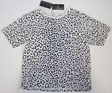 $590 NWT SAINT LAURENT Paris Leopard Printed 100% Cotton T-Shirt Top L