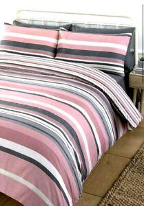 2 x Bailey BOGOF Duvet Sets Stripe Duvet Set Pink Size Double