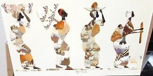 JIJA ODUKA REAL BUTTERFLY WINGS AFRICAN WOMAN HAND SIGNED PAINTING
