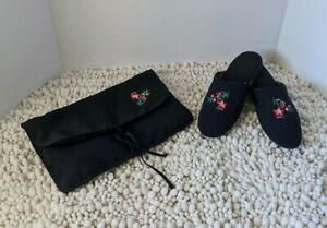 Victorias Secret Vintage Slippers With Storage Pouch Black Floral Size Small 5/6