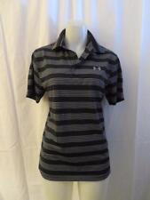 Mens Under Armour Black,Gray Striped Polo Shirt Size Sm
