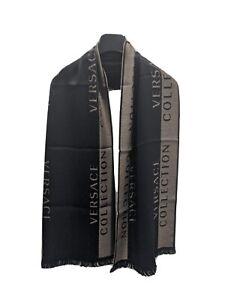 NEW VERSACE Black & Brown Unisex Logo Soft Wool Blend Scarf NWT