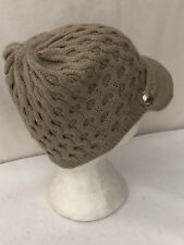 *OS Calvin Klein Womens Honeycomb Cable Trim Logo Button Newsboy Cabbie Hat Tan
