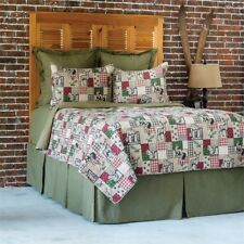 Caleb Lodge 3 Pc Queen Quilt Set Quilt + 2 Quilted Shams Brown.Green.Red.Black