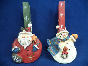 Pair of Useful Wooden Peg Christmas Decorations Snowman & Santa Father Christmas
