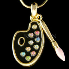 ~Paint Palette~ made with Swarovski Crystal Artist 3D Brush Art Painter Necklace