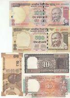 INDIA 5 PCS BANKNOTES SET (10+10+10+500+1000 RUPEES), RANDOM YEAR, UNC