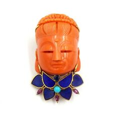 Buddha Carved Coral Lapis Lazuli Sapphire Ruby Turquiose Yellow Gold Pin Brooch