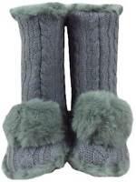 Ruby + Ed ladies designer grey knit fur pom pom slipper boots new sizes UK 3- 8
