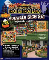 Friendly 4 PC Trick Or Trick Land Sidewalk Yard Sign Set Halloween Prop Decor
