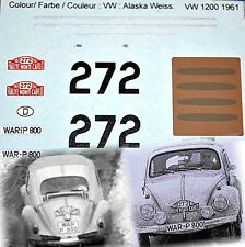 VW 1200 ESCARABAJO BEETLE RALLYE MONTE CARLO 1961 #227 1:43 Pegatina Adhesivo