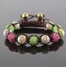 Damen Armband/Armreif,Cubic Zirkon , bunt Achatkugeln, Shamballa ,verstellbar