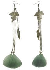 F1908 fashion long Feather bronze leaf chain light dangle earrings New