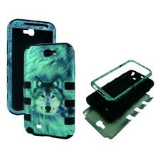 For Samsung Galaxy Note 2 N7100 Hybrid BlkStrip Wolf Hard Soft Cover