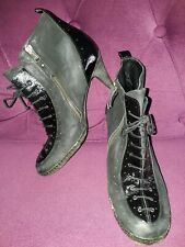 ALL SAINTS BLACK 2-TONE LEATHER VICTORIAN STYLE ANKLE BOOTS  SIZE 6.5 EU 40