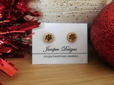 Paw Prints Earrings made from laser engraved wood. Gift Box INCLUDED. Dog Gift