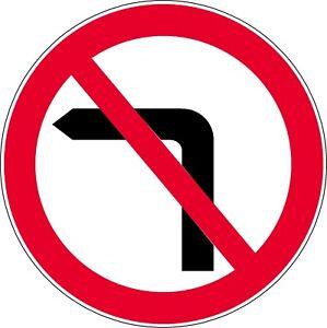 Road sign NO LEFT TURN 600mm circle dibond reflective