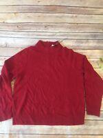 Karen Scott Women's Mock-Neck Sweater Pullover Long Sleeve Red Cherry Sz M $39.5