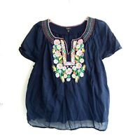 Talbots 1X Petite Floral Embroidered Boho Peasant Blouse Top Navy Blue Plus Size