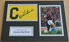 Dennis Mortimer Signed Captains Armband A4 Photo Display Aston Villa PROOF & COA