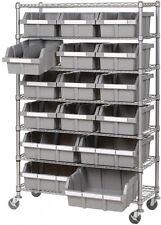 Industrial Commercial Garage 16 BIN Rolling Storage Shelving Rack 7 Wire Shelves