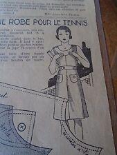 """ANCIEN PATRON POUR LA POUPEE """" BLEUETTE """"ROBE DE TENNIS AOUT  1934"""