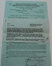 Take the Money and Run *Original Signed Movie Contract * Jan Merlin, Bank Robber