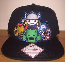 New Marvel Advengers Heros SnapBack Hat Cap Black Flat Bill