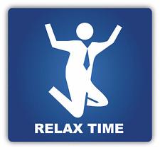 """Relax Time Businessmann Jumping Sign Car Bumper Sticker Decal 5"""" x 5"""""""