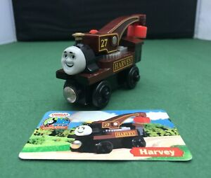 Thomas and Friends Wooden Railway - Harvey Crane Engine + Collector's Card - VGC