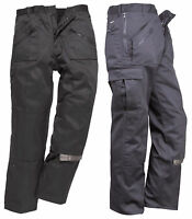 Lined Action Trousers Mens Cargo Combat Work pants Knee Pad Pocket Portwest C387