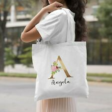 Cute Resuable Tote Bag, Mother's Day Gift, Personalised Bag First Name Initial