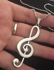 "Large Music Note Necklace pendant 30"" Chain Silver Musical Treble Clef love UK"
