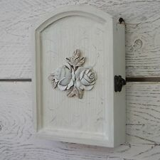 Country Cream Wooden Cabinet Vintage Embossed Rose Key Cupboard Storage Box