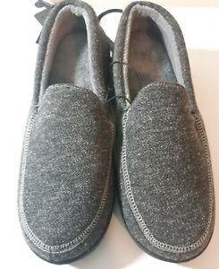 Men's Isotoner Dark Charcoal Heather slippers Sz 8-9 Enhanced Heel Cushion
