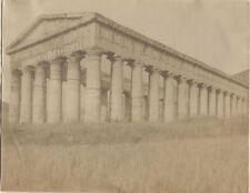 ANCIENT GREEK TEMPLE SEGESTA SICILY ORIGINAL VINTAGE PHOTOGRAPH ON CANVAS PAPER