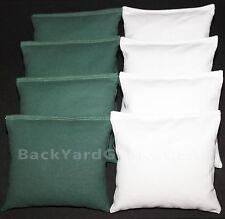 CORNHOLE BEAN BAGS Green & White 8 ACA Bags Eagles Michigan State Miami Marshall