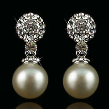 14k white Gold plated with Swarovski crystals pearl dangle beautiful earrings
