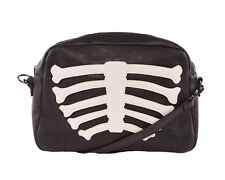 Iron Fist Black Faux Leather Wishbone Skeleton Clutch Bag