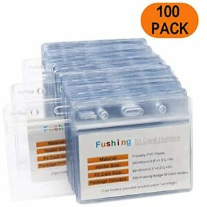 100 Pcs Clear Plastic Horizontal Name Tag Badge ID Card Holders Office Products