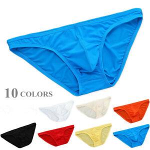 Men's Ice Silk Bikini Briefs Low Waist Underwear Sexy Breathable Underpants as